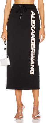 Alexander Wang Dry French Terry Skirt in Black   FWRD