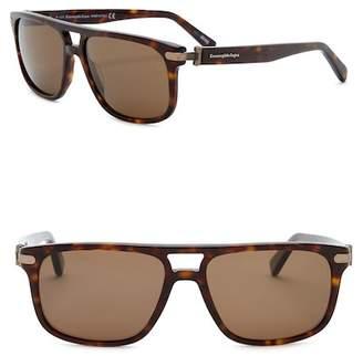 Ermenegildo Zegna Uomo Browbar 57mm Acetate Frame Sunglasses