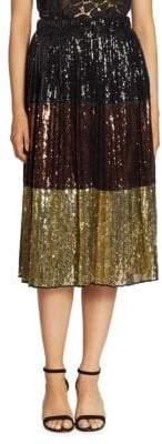 N°21 Metallic Sequined Colorblock Skirt