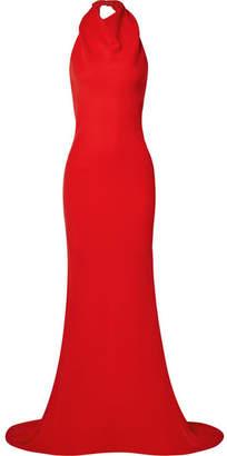 Oscar de la Renta Ruffled Silk-blend Crepe Halterneck Gown - Red