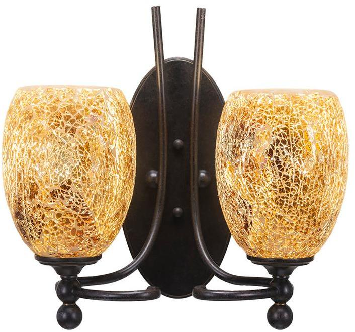 Cambridge Silversmiths Cambridge 2-Light Dark Granite Sconce with Gold Cracked Glass