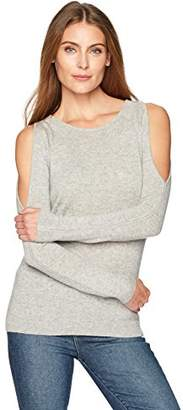 Lark & Ro Women's 100% Cashmere Soft Cold Shoulder Sweater