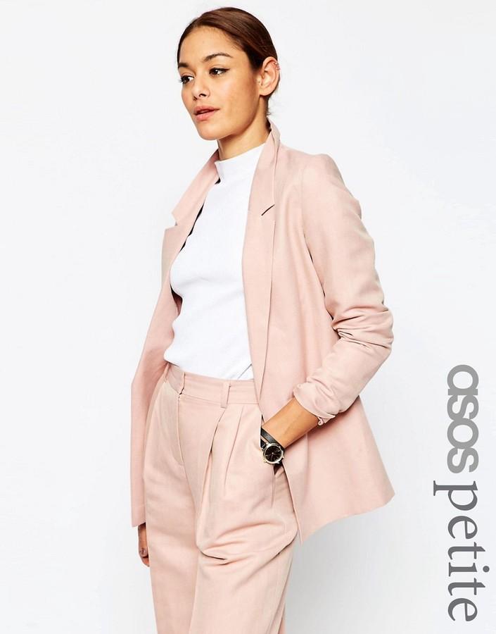 ASOS PETITE Premium Linen-Mix Clean Suit Blazer
