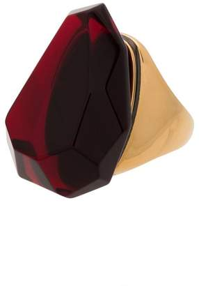 Alexander McQueen red faceted stone ring