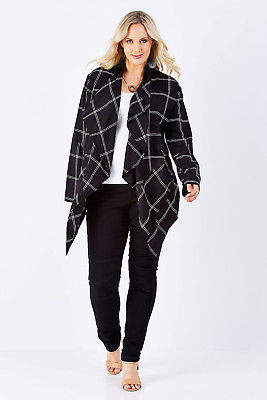 NEW bird by design Womens Jackets The Check Waterfall Jacket Check