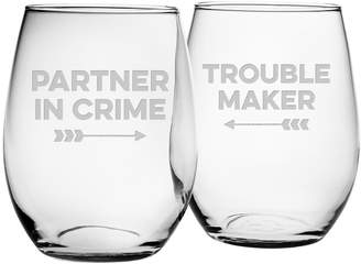 Susquehanna Glass Co. Partner in Crime Stemless Wine Glasses (Set of 2)