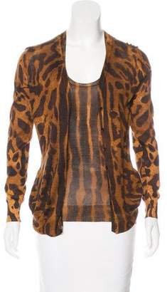 Alexander McQueen Wool Leopard Print Cardigan Set