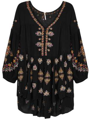 Free People Arianna Black Embroidered Tunic