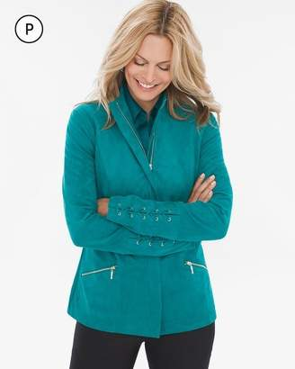 Petite Sueded Lace-Up Sleeve Jacket
