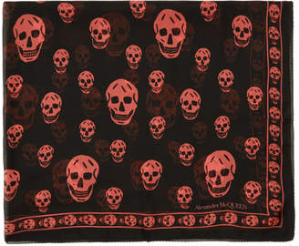 Alexander McQueen Black and Pink Classic Skull Scarf
