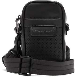 Bottega Veneta Leggero Perforated Leather Mini Cross Body Bag - Mens - Black