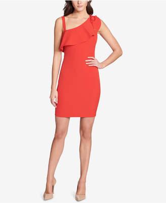 GUESS Asymmetrical Ruffle Bodycon Dress