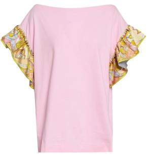 Emilio Pucci Ruffle-trimmed Cotton-jersey And Twill T-shirt