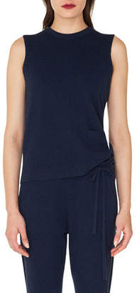 Akris Sleeveless Crewneck Pullover Cashmere Shell with Patch Pocket