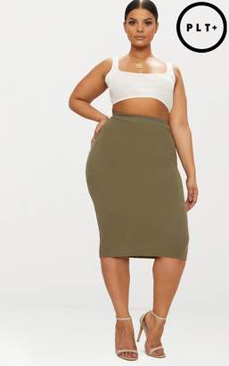 PrettyLittleThing Plus Khaki Ribbed Zip Detail Midi Skirt