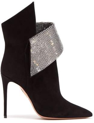 Aquazzura Night Fever 105 Crystal Embellished Ankle Boots - Womens - Black