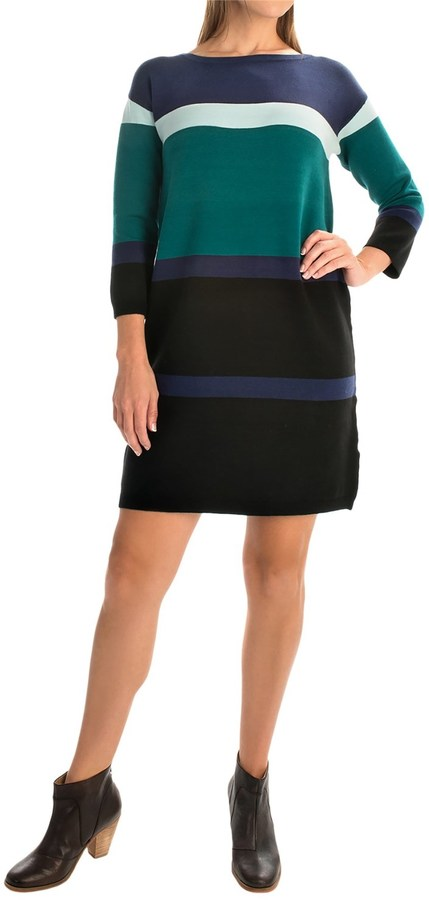 Joan Vass Bold Stripe Dress - 3/4 Sleeve (For Women)