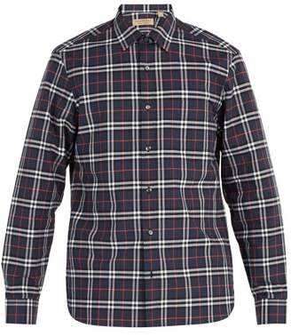 Burberry House Check Cotton Shirt - Mens - Navy