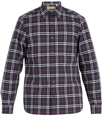 Burberry House Check Cotton Shirt - Mens - Navy