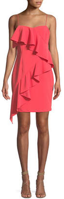 Aidan Mattox Scuba Crepe Asymmetric Ruffle Mini Dress
