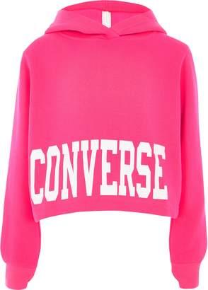 Converse Girls bright Pink cropped hoodie