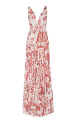 Oscar de la Renta Floral Silk Maxi Dress