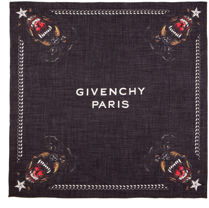 Givenchy Rottweiler Silk & Wool Scarf in Black