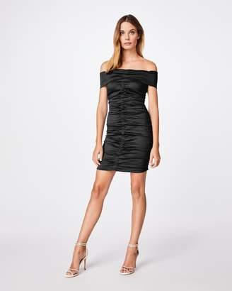 Nicole Miller Solid Cotton Metal Off The Shoulder Ruched Dress