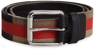 Burberry Striped Check Jute Cotton Belt