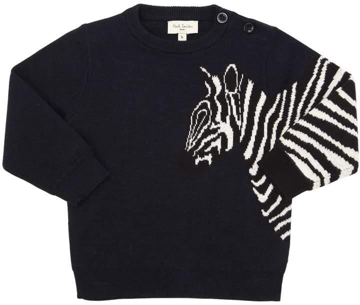 Zebra Intarsia Cotton Blend Knit Sweater