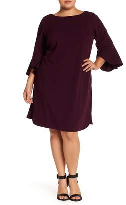 Vince Camuto Seamed Solid Ruffle Sleeve Dress (Plus Size)