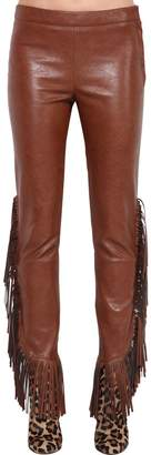 Giamba Faux Leather Pants W/ Fringe