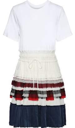3.1 Phillip Lim Pleated Crepe De Chine, Chiffon And Satin-paneled Cotton-jersey Dress