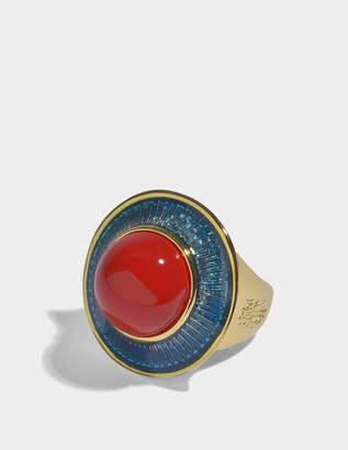 Aurelie Bidermann Elvira Ring in Turquoise Enamel, Coral Resin and 18K Gold-Plated Brass