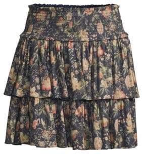 Rebecca Taylor Secret Garden Tiered Floral Skirt