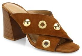 Michael Kors Collection Brianna Studded Suede Crisscross Mules