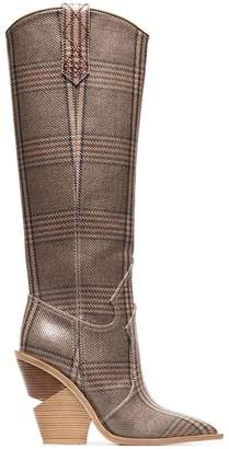 Fendi brown and blue cutwalk check 100 leather boots