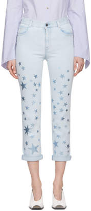 Stella McCartney Blue Metallic Stars Boyfriend Jeans