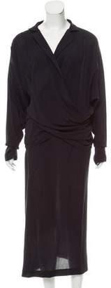 Donna Karan Long Sleeve Maxi Dress