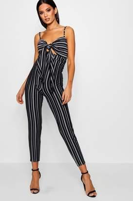 boohoo Striped Tie Front Skinny Leg Jumpsuit