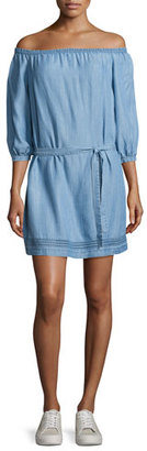 Paige Denim Beatrice Off-the-Shoulder Chambray Dress, Persephone $219 thestylecure.com