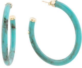 Sterling Silver 45mm Resin Hoop Earrings