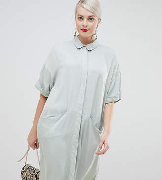 Asos DESIGN Curve Short Sleeve Shirt midi dress with Drape Pockets