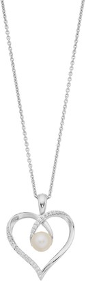 Vera Wang Simply Vera Sterling Silver Freshwater Cultured Pearl & 1/10 Carat T.W. Diamond Heart Pendant