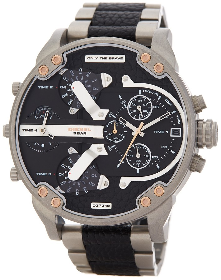 DieselDiesel Men's Mr. Daddy Leather & Stainless Steel Bracelet Watch