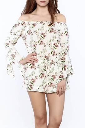 Cotton Candy Off-Shoulder Floral Romper $68 thestylecure.com