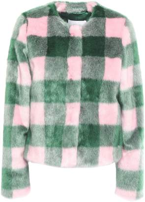 Stand Studio Sofia Checked Faux Fur Coat