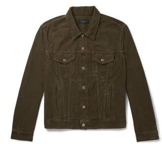 Alanui Slim-Fit Intarsia Cashmere-Panelled Cotton-Corduroy Jacket - Men - Green