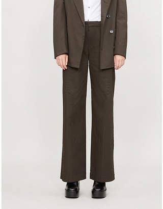 A.F.Vandevorst Wide-leg stretch-cotton trousers