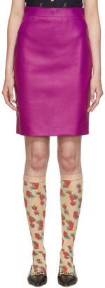Gucci Pink Leather Pencil Skirt